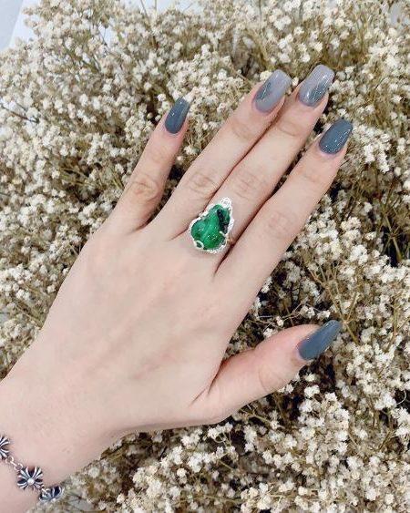 Nhẫn Tỳ Hưu Cẩm Thạch xanh lá